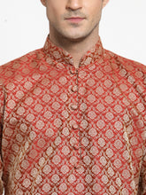 Load image into Gallery viewer, Men Red & Beige Self Design Kurta with Churidar - Jompers