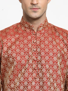 Men Red & Beige Self Design Kurta with Churidar - Jompers