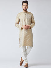 Load image into Gallery viewer, Men Beige & Off-White Self Design Kurta with Churidar - Jompers