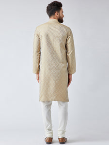 Men Beige & Off-White Self Design Kurta with Churidar - Jompers