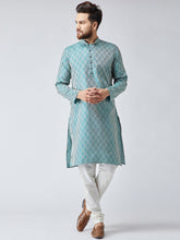 Load image into Gallery viewer, Men Green & Off-White Self Design Kurta with Churidar - Jompers