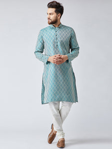 Men Green & Off-White Self Design Kurta with Churidar - Jompers