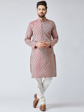 Load image into Gallery viewer, Men Maroon & Off-White Self Design Kurta with Churidar - Jompers