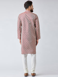 Men Maroon & Off-White Self Design Kurta with Churidar - Jompers