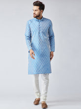 Load image into Gallery viewer, Men Sky Blue & Off-White Self Design Kurta with Churidar - Jompers
