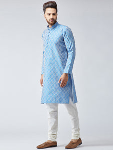Men Sky Blue & Off-White Self Design Kurta with Churidar - Jompers