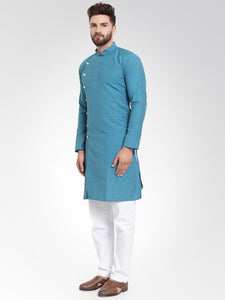 Men Green Self Design Kurta with Pajama - Jompers
