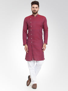 Men Maroon Self Design Kurta with Pajama - Jompers