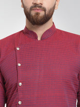Load image into Gallery viewer, Men Maroon Self Design Kurta with Pajama - Jompers
