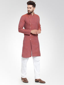 Men Red Self Design Kurta with Pajama - Jompers