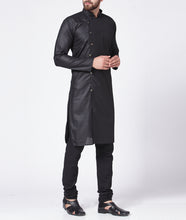 Load image into Gallery viewer, Men Black Solid Kurta with Churidar