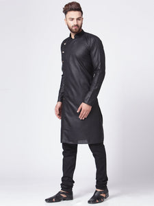 Men Black Solid Kurta Only
