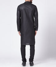 Load image into Gallery viewer, Men Black Solid Kurta Only