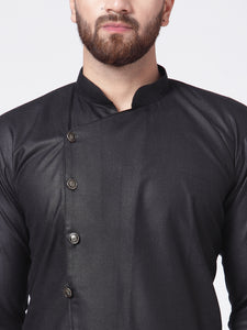 Men Black Solid Kurta with Churidar
