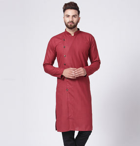 Men Maroon Solid Kurta Only
