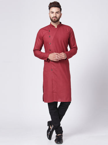 Men Maroon Solid Kurta with Churidar