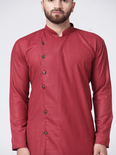 Load image into Gallery viewer, Men Maroon Solid Kurta with Churidar