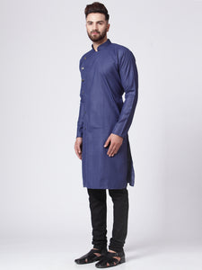 Men Navy-Blue Solid Kurta with Churidar