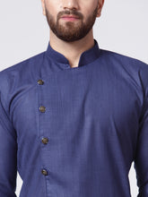 Load image into Gallery viewer, Men Navy-Blue Solid Kurta with Churidar