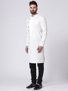 Men White Solid Kurta with Churidar