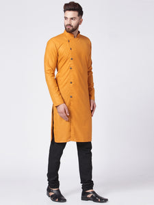 Men Yellow Solid Kurta with Churidar