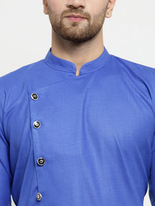 Men Royal-Blue Solid Kurta with Churidar