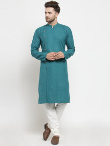Men Green Solid Kurta with Churidar