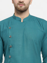 Load image into Gallery viewer, Men Green Solid Kurta with Churidar
