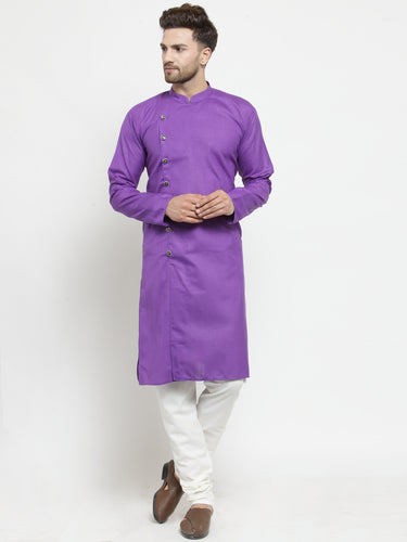 Men Purple Solid Kurta with Churidar