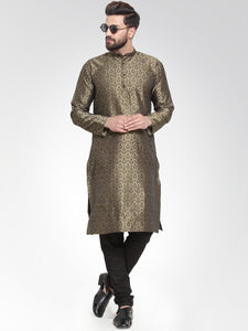 Men Gold-Colored & Black Self Design Kurta with Churidar