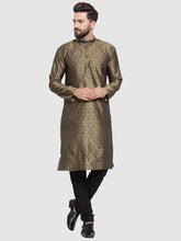 Load image into Gallery viewer, Men Gold-Colored & Black Self Design Kurta with Churidar