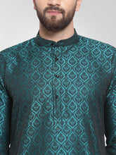 Load image into Gallery viewer, Men Green-Colored & Black Self Design Kurta with Churidar