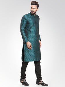 Men Green-Colored & Black Self Design Kurta with Churidar
