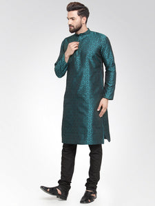 Men Green-Colored & Black Self Design Kurta Only