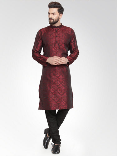 Men Maroon-Colored & Black Self Design Kurta with Churidar