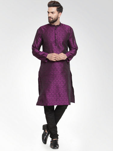 Men Purple-Colored & Black Self Design Kurta with Churidar
