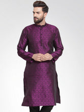 Load image into Gallery viewer, Men Purple-Colored & Black Self Design Kurta Only ( KO 584 Purple )