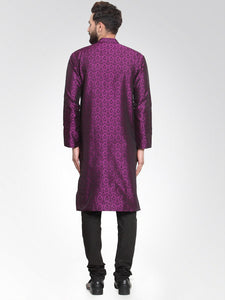 Men Purple-Colored & Black Self Design Kurta Only ( KO 584 Purple )