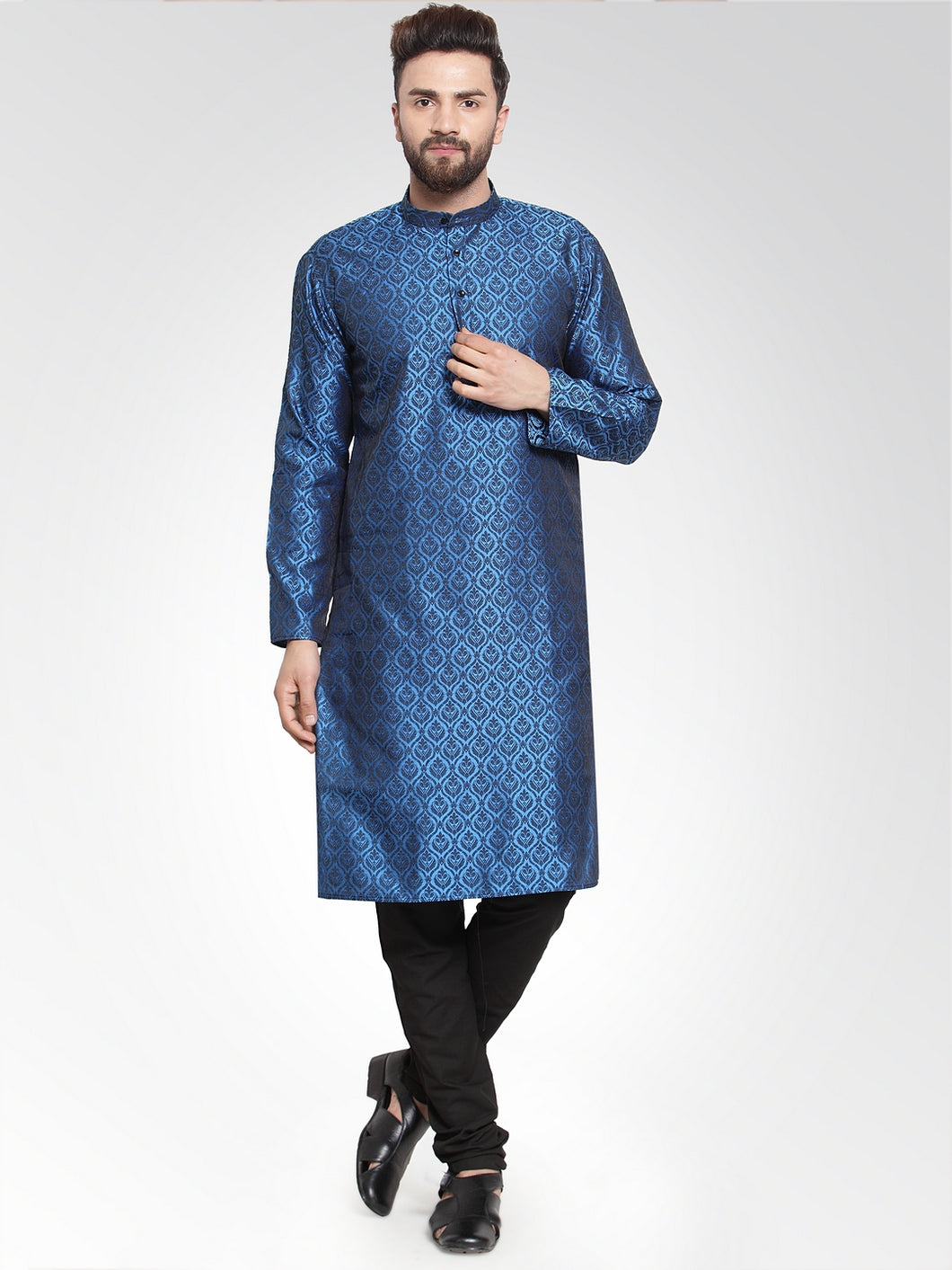 Men Royal-Blue Colored & Black Self Design Kurta with Churidar