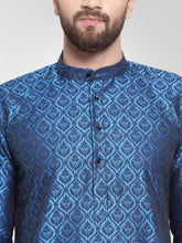 Load image into Gallery viewer, Men Royal-Blue Colored & Black Self Design Kurta with Churidar