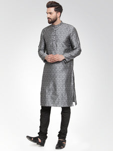 Men Silver-Colored & Black Self Design Kurta with Churidar