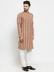 Men Red and black Self Design Stripped Kurta Only
