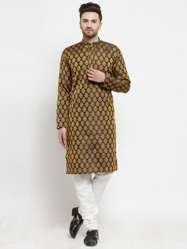 Men Black-Colored & Golden Self Design Kurta with Churidar