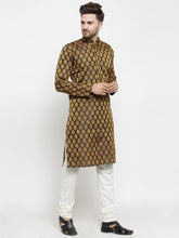 Load image into Gallery viewer, Men Black-Colored & Golden Self Design Kurta with Churidar
