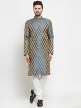 Load image into Gallery viewer, Men Blue-Colored & Golden Self Design Kurta with Churidar