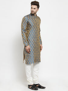 Men Blue-Colored & Golden Self Design Kurta with Churidar