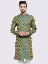 Load image into Gallery viewer, Men Green-Colored & Golden Self Design Kurta Only