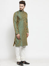 Load image into Gallery viewer, Men Green-Colored & Golden Self Design Kurta with Churidar