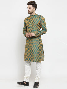 Men Green-Colored & Golden Self Design Kurta Only