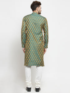 Men Green-Colored & Golden Self Design Kurta with Churidar